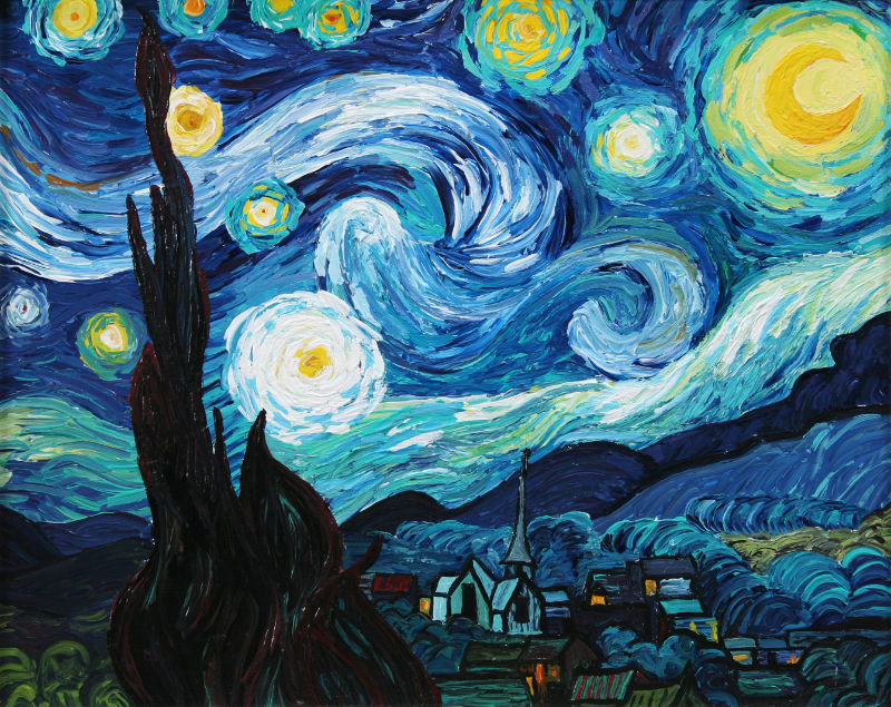 copy of Van Gogh's Starry Night by a high schooler