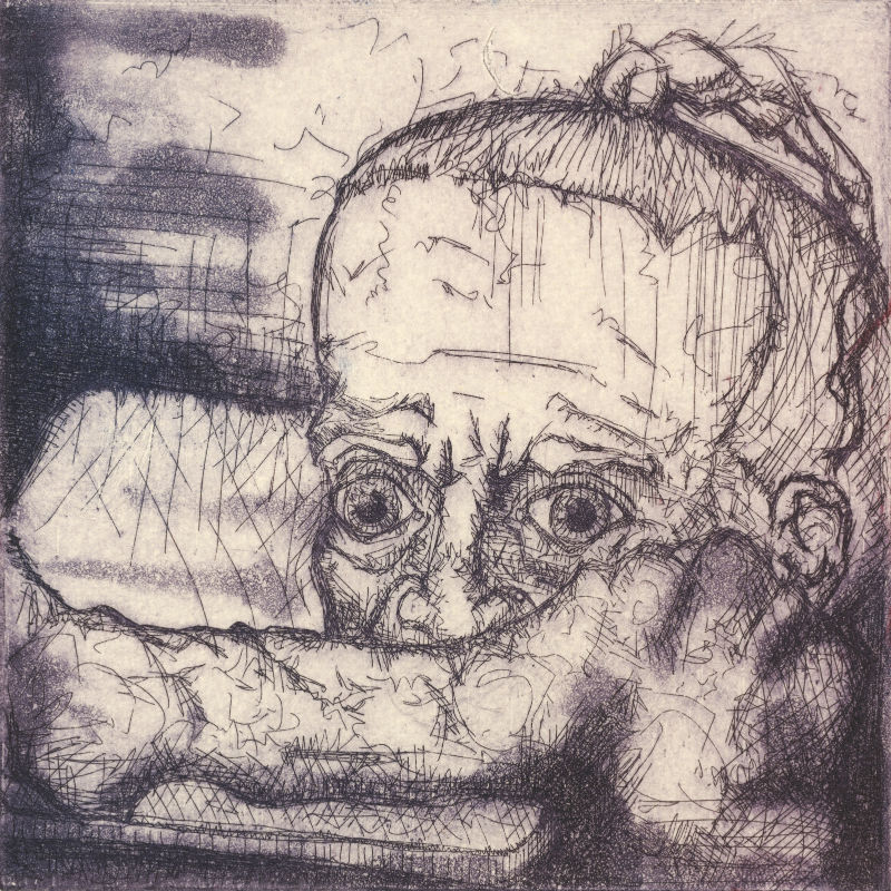 etching of an elderly woman