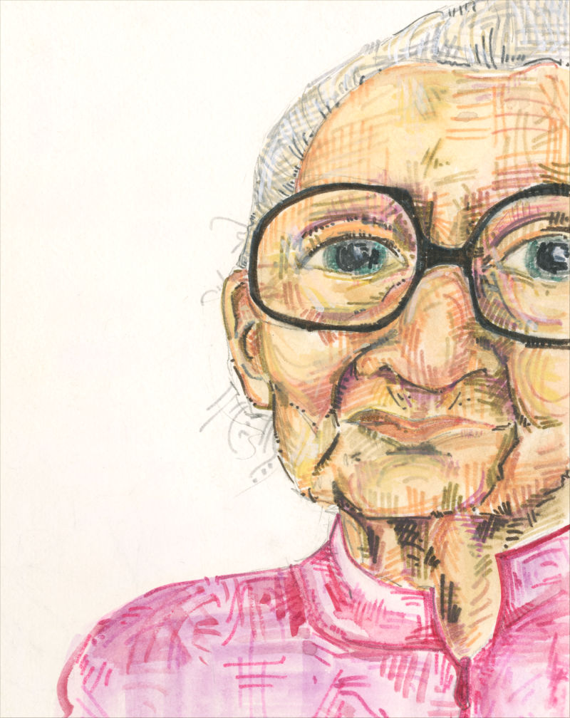 portrait of an old white woman with large glasses
