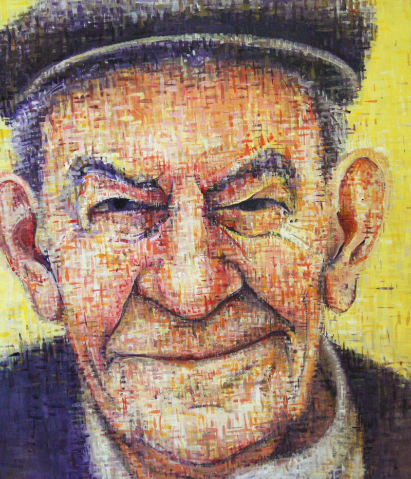 painted portrait of a grandfather wearing a cap
