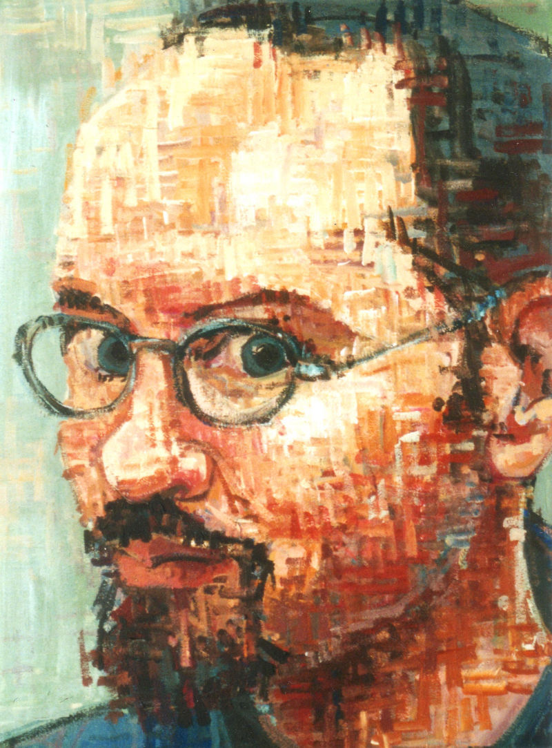 man with a goatee and glasses, painted portrait