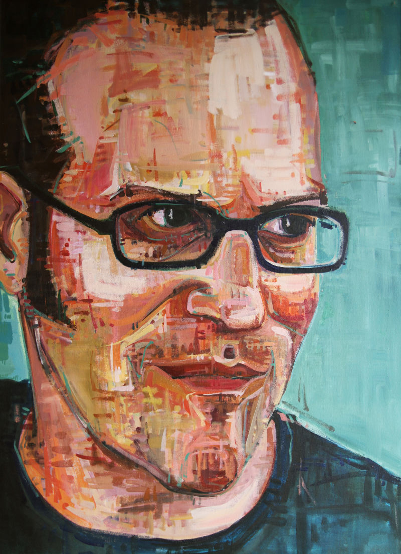painted portrait of a young white man with glasses