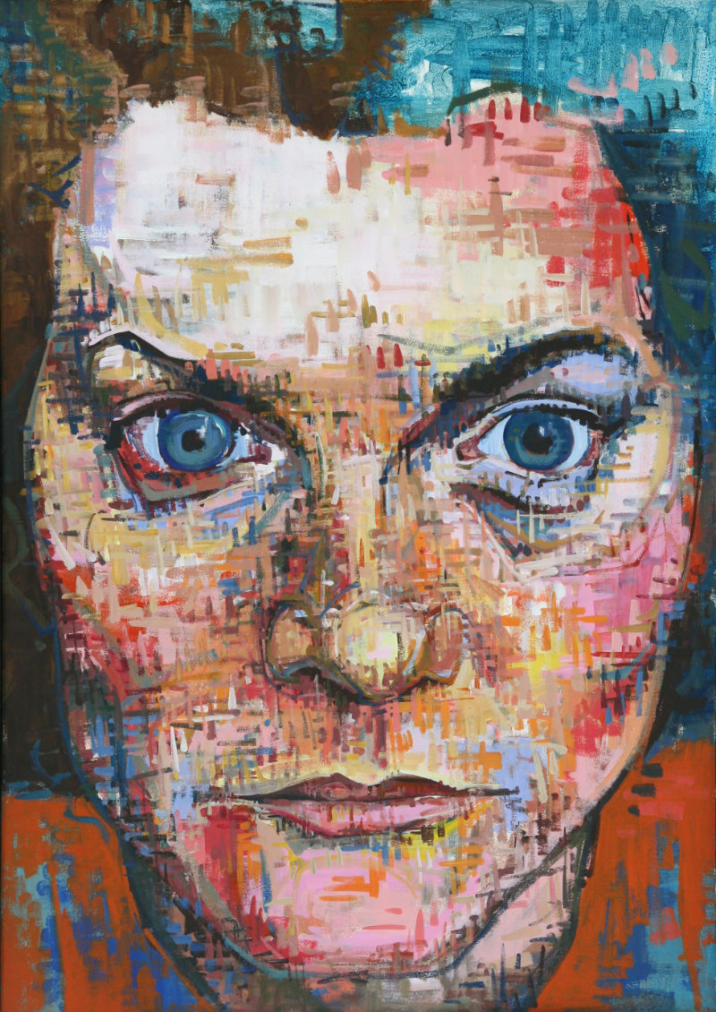 painted portrait of photographer Andrea Wallace