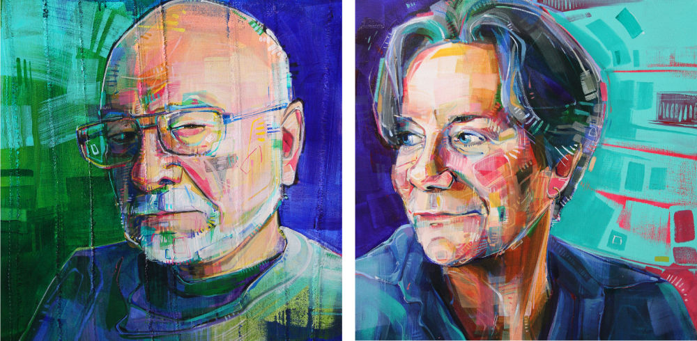 portraits peints en acrylique