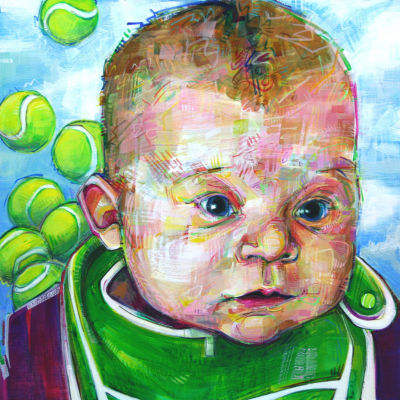 baby portrait with tennis balls, painting by Gwenn Seemel