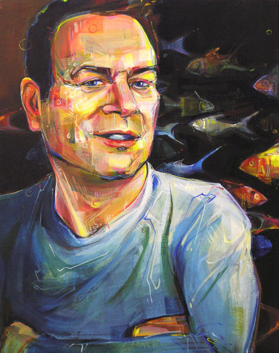 portrait of a man with fish, artwork by Gwenn Seemel