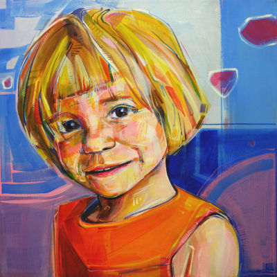custom art portrait of a little girl
