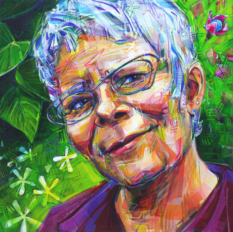 painted portrait of a woman with fantastic glasses and flowers in the background, made by independent artist Gwenn Seemel