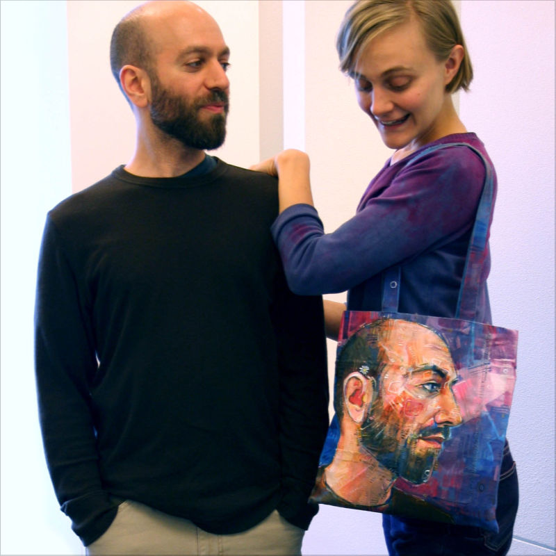 Portland artist Gwenn Seemel with her partner David Vanadia