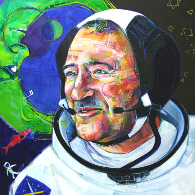 Russian-American man painted as an astronaut, figurative for sale