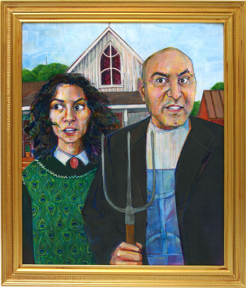 American Gothic with an Algerian-American daughter and father