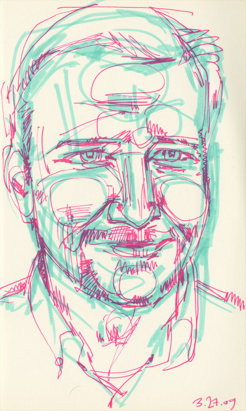 marker and pen sketch of a man with a goatee