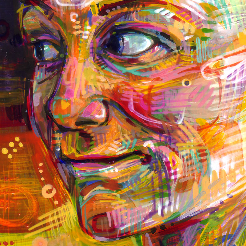 colorful painted portrait with dynamic mark-making