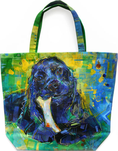 black cocker spaniel painted directly on a canvas tote