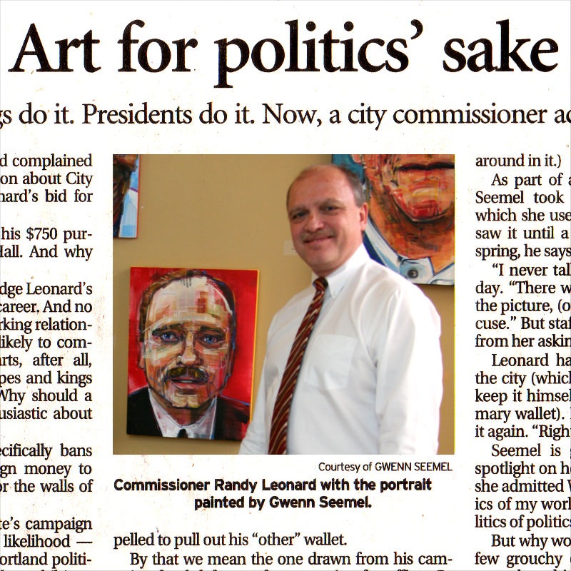 Portland City Commissioner Randy Leonard with Gwenn Seemel's portrait of him