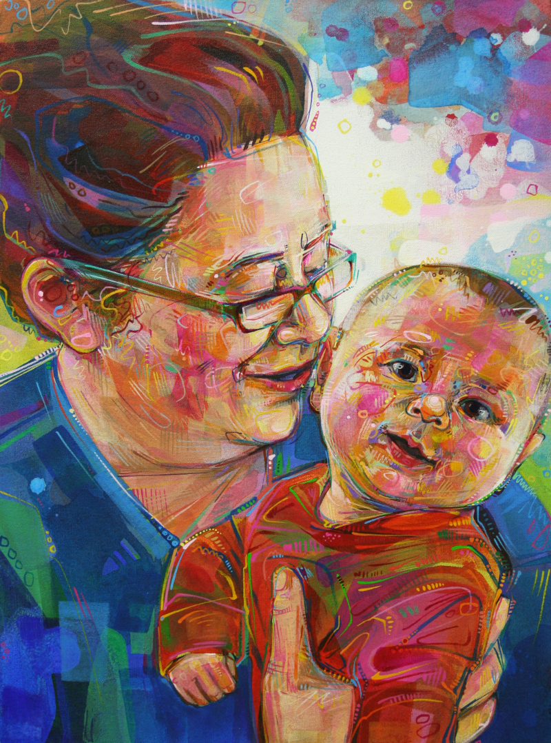 mother and child painted portrait