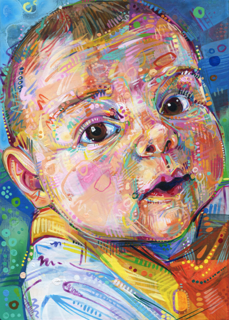 painted portrait of little boy