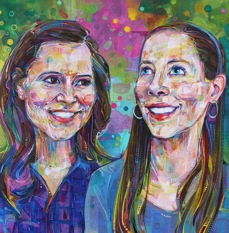 painted portrait of two sisters