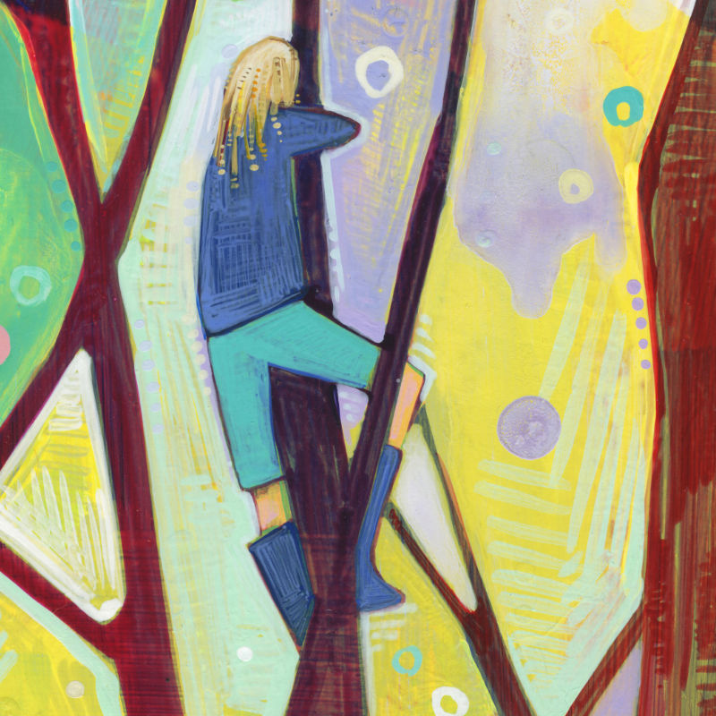 painting of a girl in a tree