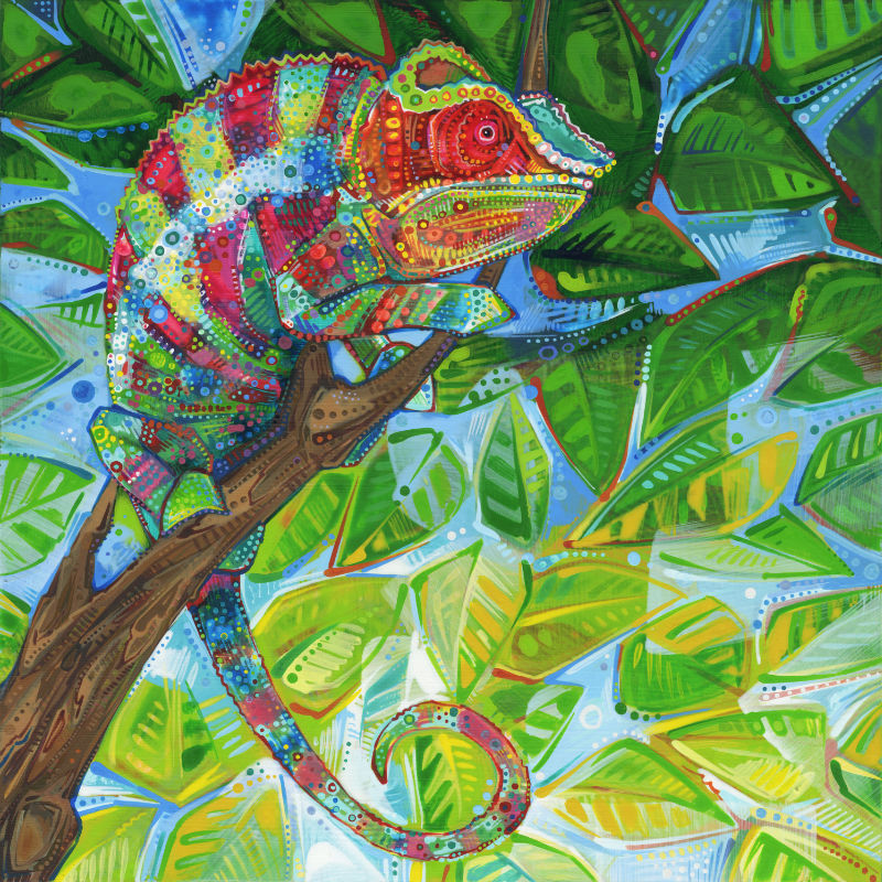 painting of rainbow chameleon