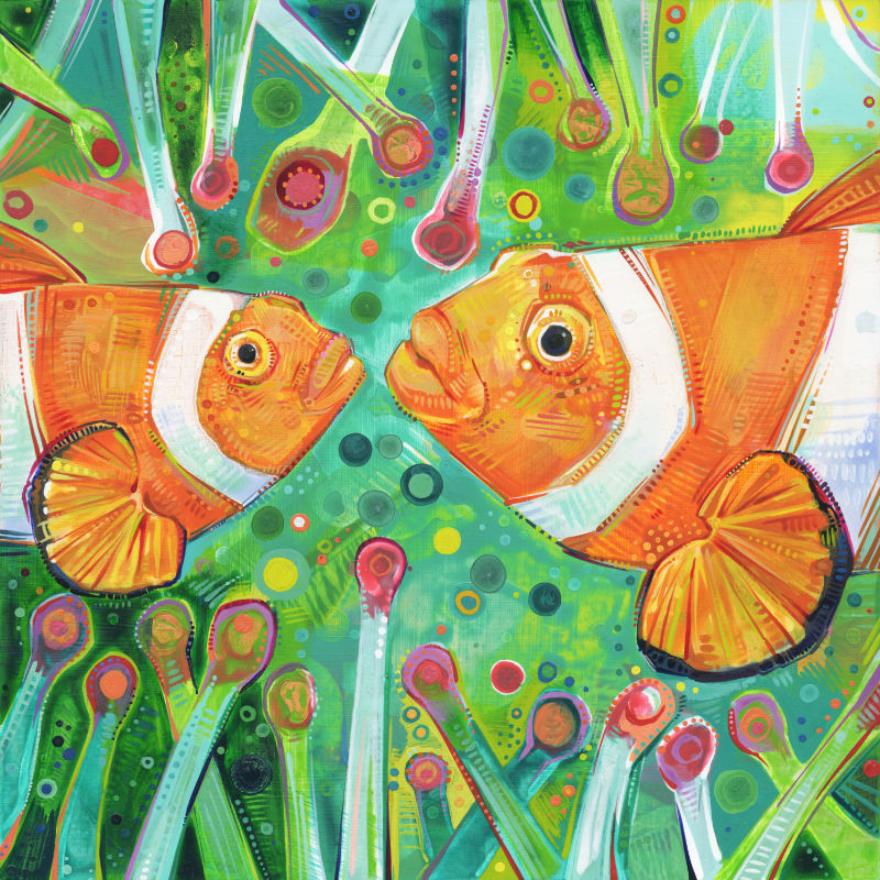 painting of two clownfishes in an anemone