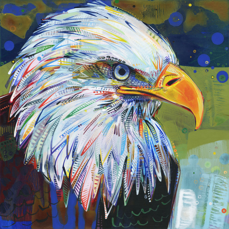 colorful close up painting of a bald eagle