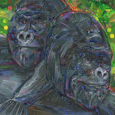 two male gorillas painted in acrylic, buy art by independant artist Gwenn Seemel