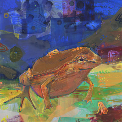 hip-pocket frog dad with babies, painted in acyrlic