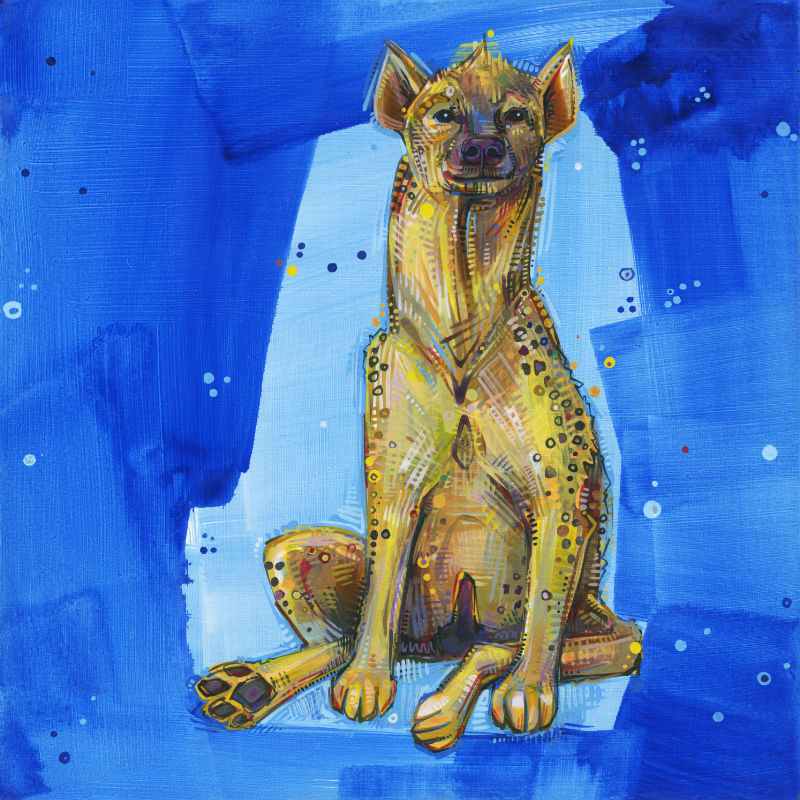 painting of a female spotted hyena