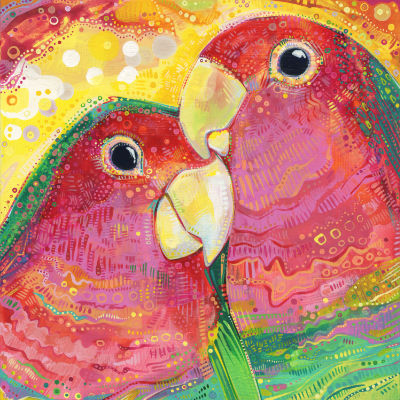 two lovebirds cuddling, painted parrots art for sale