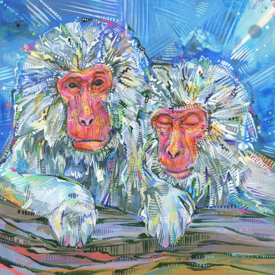 pair of Japanese macaques resting together, painting for sale