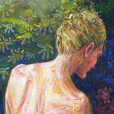 figurative art painting of the back and neck of a blond woman