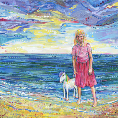 little blond girl with her tiny rainbow horse on the beach, artwork by Gwenn Seemel