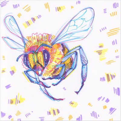 bee drawing in marker on paper
