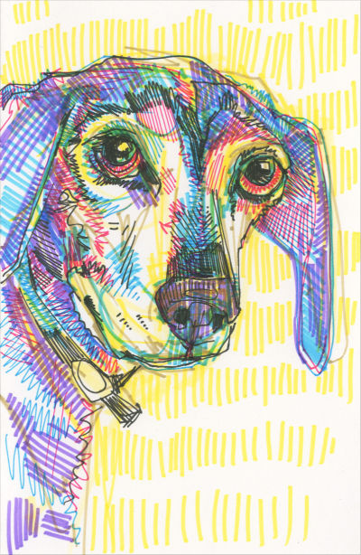 dog drawing crosshatch