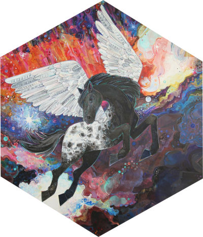 Pegasus painting, artwork by Gwenn Seemel