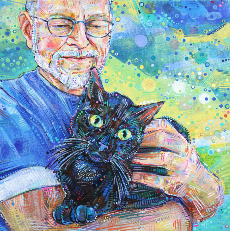 painted portrait of an old man with his cat