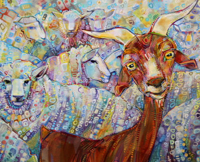 goat with some sheep, painting art