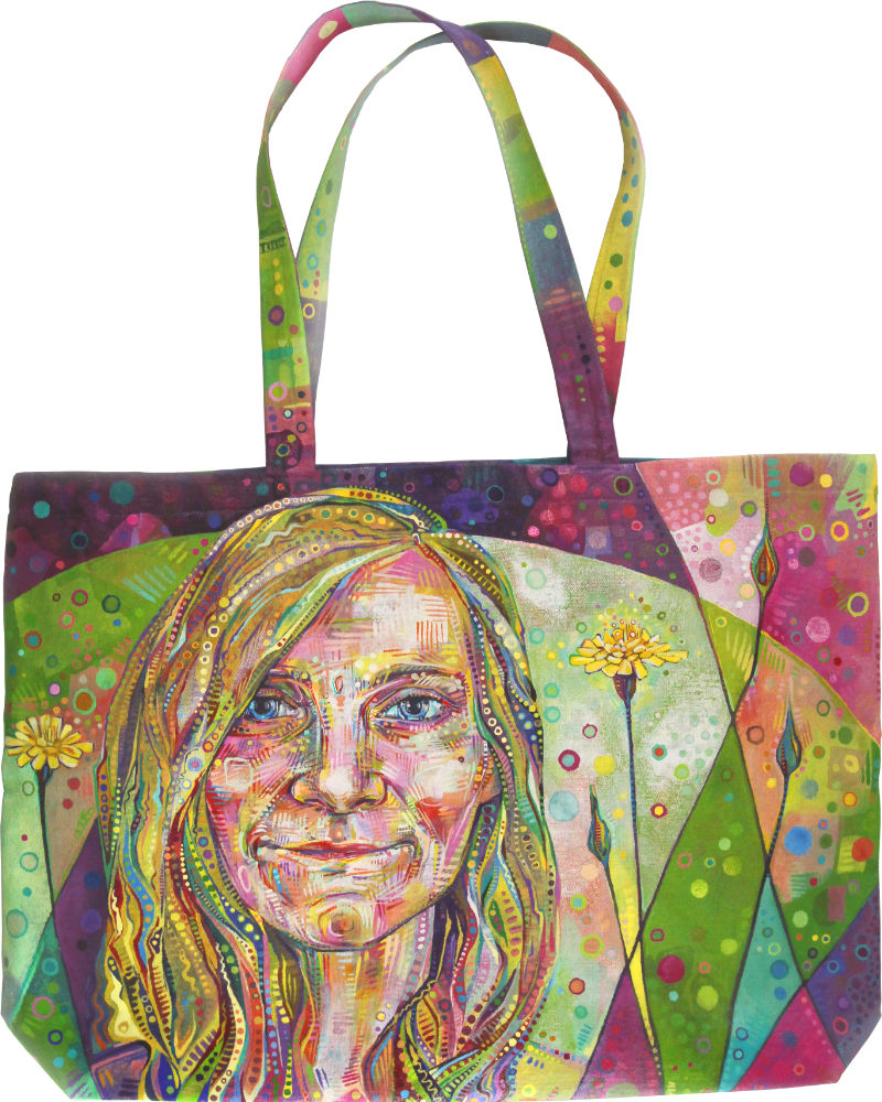 Gwenn Seemel self-portrait on a canvas tote with dandelion in the background