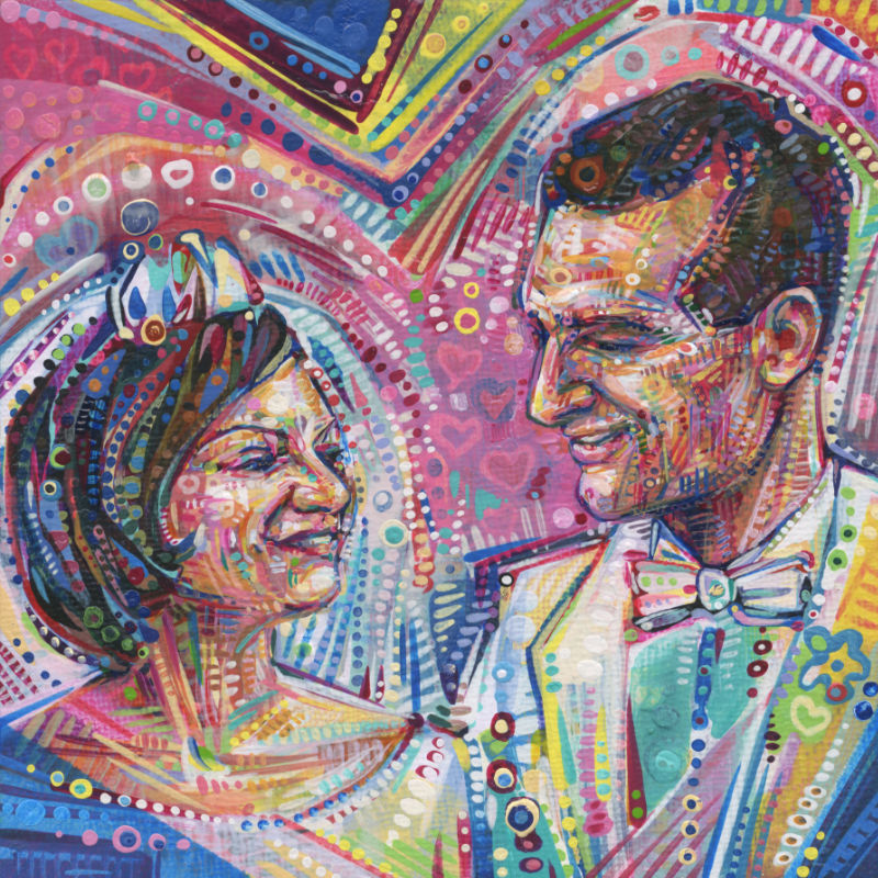 painted portrait of a young couple from the 1960s getting married
