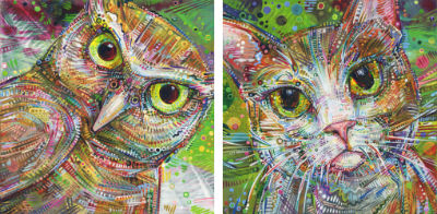 owl art and cat painting by animal painter Gwenn Seemel
