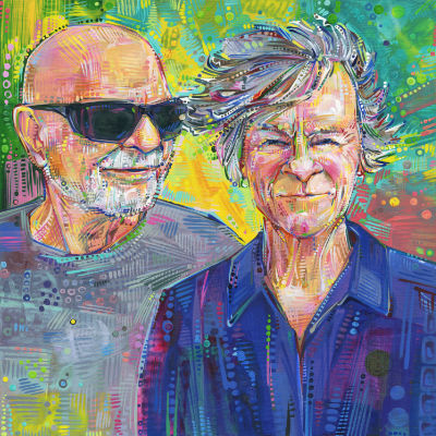 fun painted double portrait of an old couple