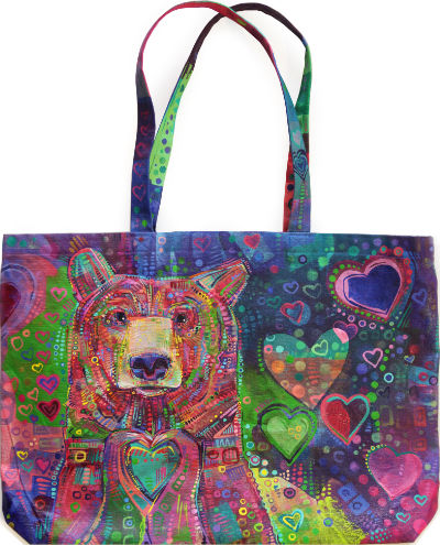 a sharing kind of bear, fine art painting on a canvas tote