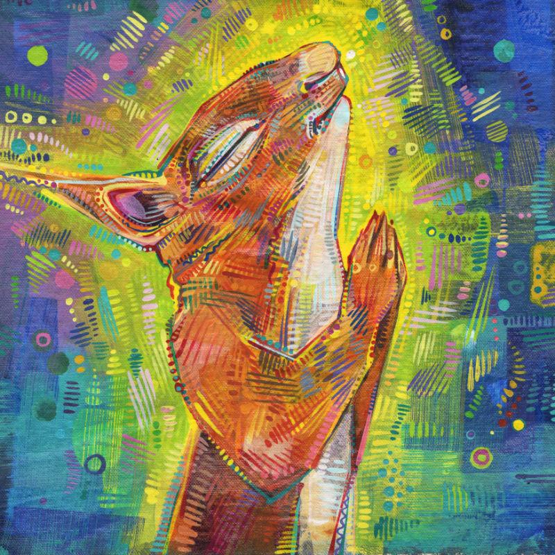 squirrel prayer painting art
