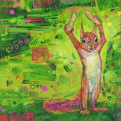 squirrel with peanuts painting by Gwenn Seemel
