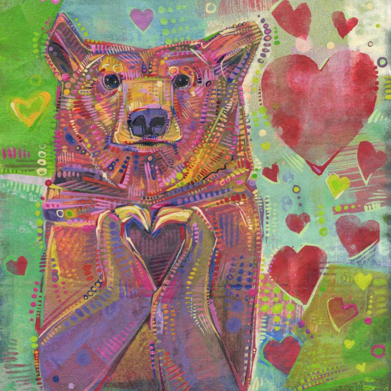 bear making a heart