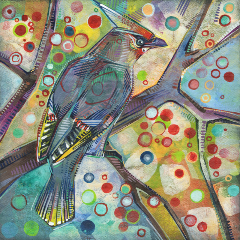 Bohemian waxwing painting