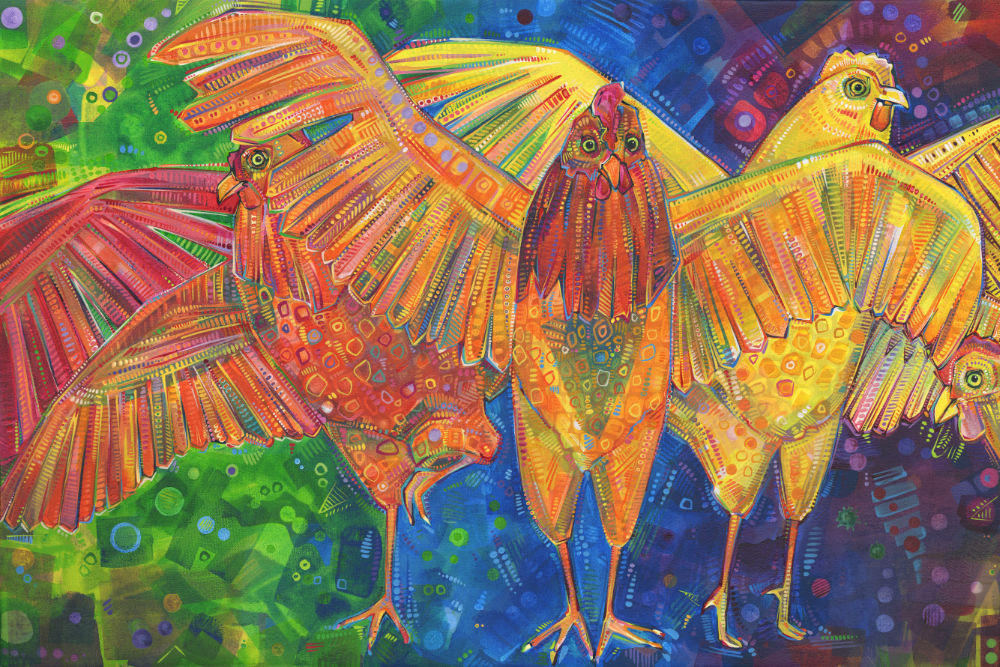 a rainbow of chickens painted in bold strokes