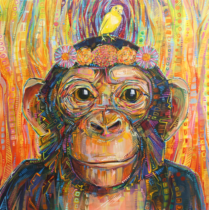 chimpanzee and canary by Gwenn Seemel