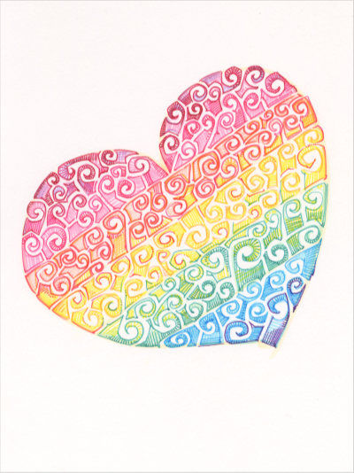 rainbow heart design in swirls